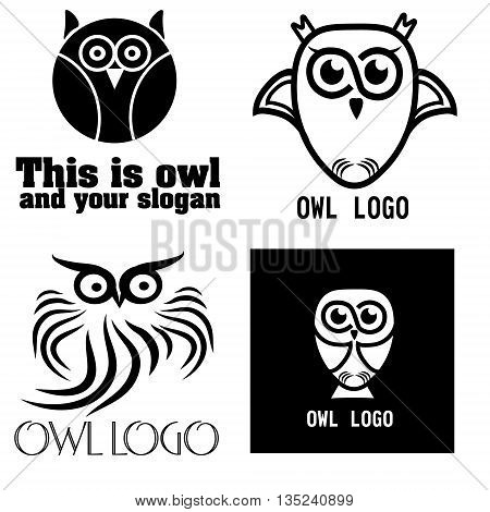 Vector illustration of a set of black and white owl Set of four black and white owl for company or business graphic isolated illustration on white background vector illustration