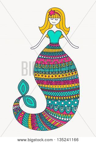 Cute doodle mermaid. Vector hand drawn mermaid with color doodle ornament. Isolated. Bright colors - pink yellow gren white.