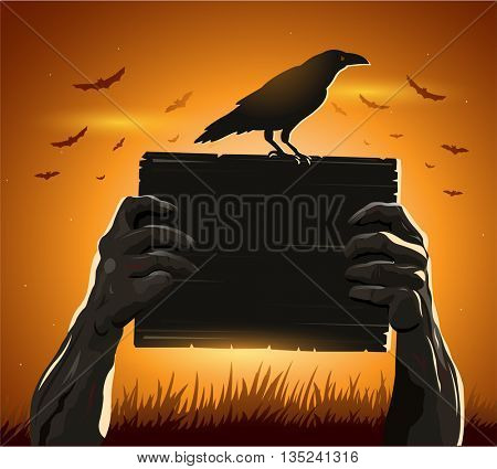 Zombie hands holding sign with blank card as a creepy halloween or scary symbol  crow