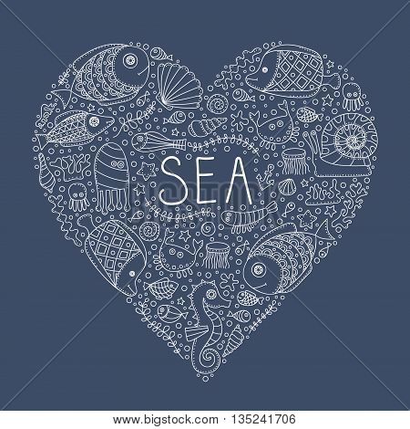 Sea heart. Vector hand drawn doodle sea elements - fish sea star sea horse crab anchor bubbles. Isolated. Outline. Love sea.