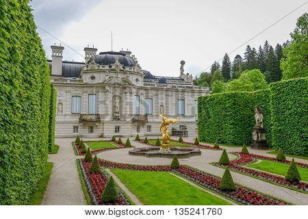 LINDERHOF GERMANY - JUNE 01 2016: Linderhof Palace is a Schloss in Germany in southwest Bavaria near Ettal Abbey. It is the smallest of the three palaces built by King Ludwig II of Bavaria