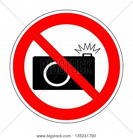 No photo camera icon. No photography sign. No photo camera vector sign isolated on white background. Caution sign. No taking pictures. Flat design style. Prohibition sign. Stock vector illustration