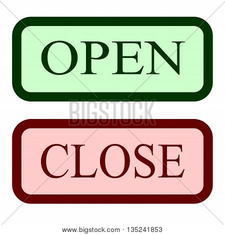 Set open and close sign. Colorfull icons with information welcoming shop visitors. Color docket on white background. Flat design. Label with text in plane style. Stock vector illustration