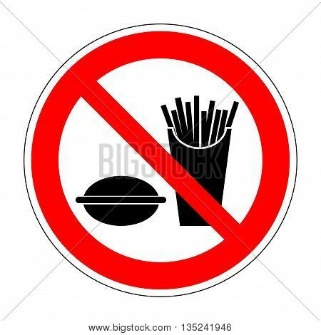 Sign no eat. No food or fastfood red plane image isolated on white background. Forbidden flat symbol. Modern art scoreboard. Prohibition mark of no eating allowed. Stock vector illustration