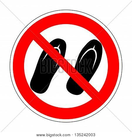 Sign no sandals. No slipper red prohibition plane icon on white background. Not allowed shoe flat symbol. Forbidden entry in step-ins. Stop label print. Ban flip flops. Stock vector illustration