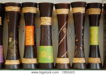 Old Wooden Vase Set