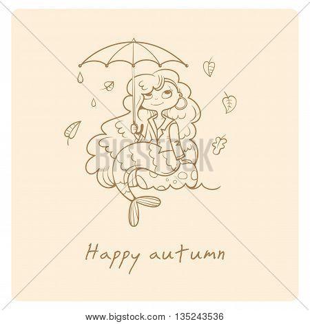 Greeting card with little cutr cartoon mermaid under umbrella. Autumn season. Rainy weather. Leaf fall. Children's illustration. Vector contour image. Beautiful fairy girl.