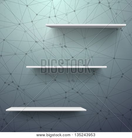 Illustration of Realistic Vector Shelf. EPS10 Empty Shelf for Store, Exhibitions, Shows. Vector Shelf on Wall. Realistic Shelf on Wireframe Technology Connection Background