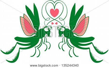 Impressive couple of green grasshoppers jumping and flying, staring at each other, forming a heart with their antennae and showing they feel madly in love