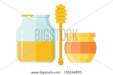 Glass jar of honey with wooden drizzler isolated on white background sweet food vector. Yellow honey jar and glass honey jar. Natural delicious healthy honey jar. Healthy nutrition golden honey.