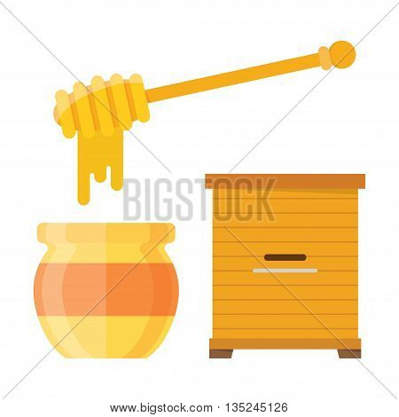 Glass jar of honey with wooden drizzler isolated on white background sweet food vector. Wooden hive apiary. Natural delicious healthy honey jar. Healthy food golden honey.