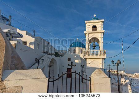 Bell tower amd orthodox church in town of Imerovigli,  Santorini island, Cyclades, Greece
