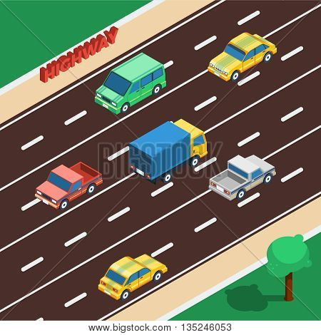 Highway Concept. Highway Isometric Illustration. Highway Vector. Highway Background