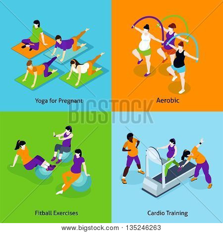 Pregnant Woman Fitness Concept. Pregnant Woman Fitness Vector Illustration. Pregnancy And Fitness Isometric Icons Set. Pregnant Woman Fitness Design Set. Pregnant Woman Fitness Isolated Elements.