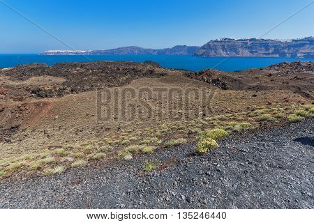 Panorama of volcano in Nea Kameni island near Santorini, Cyclades, Greece
