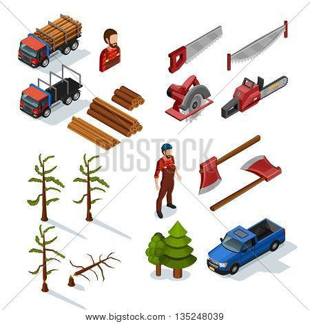 Lumberjack isometric color icons set of woodworking tools lumber trucks woodcutters in uniform  on white background flat isolated vector illustration