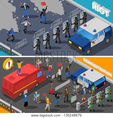 Civil unrest street riots with molotov cocktail and peaceful demonstration 2 isometric banners abstract isolated vector illustration