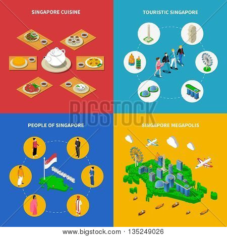 Singapore map with touristic attractions megapolis cityscape and national cuisine 4 isometric icons poster abstract vector isolated illustration