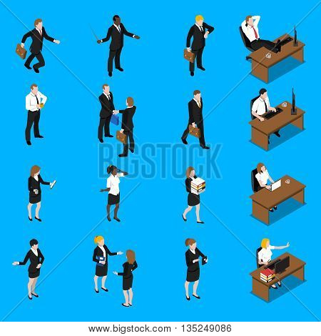 Business people at work isometric icons collection with office manager businessman and secretary abstract vector isolated illustration