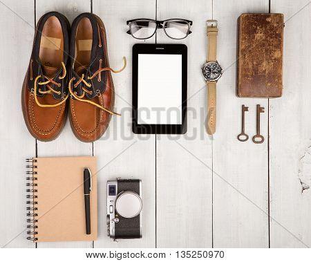Travel Concept - Shoes, Camera, Tablet Pc, Notepad, Watch, Glasses, Casket And Vintage Keys