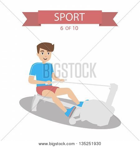 Athlete swings back in the simulator flat graphics