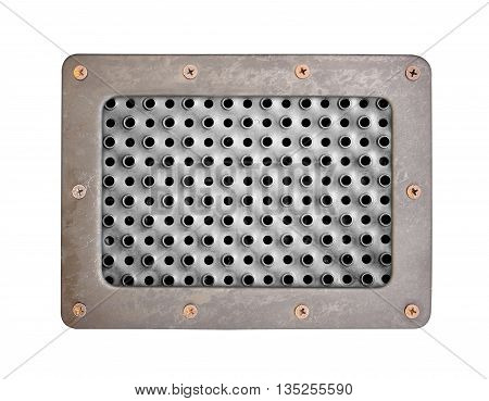 metal texture with holes plate with metal frame and screws