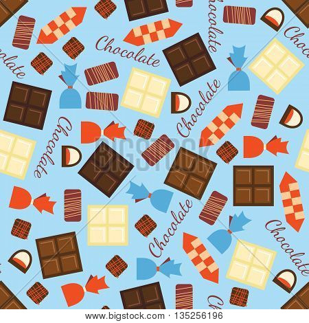 Seamless pattern with black, milk and white chocolate bars and candies. Abstract background with tasty gourmet items. Can be used for wallpaper and wrapping paper. Vector design illustration.