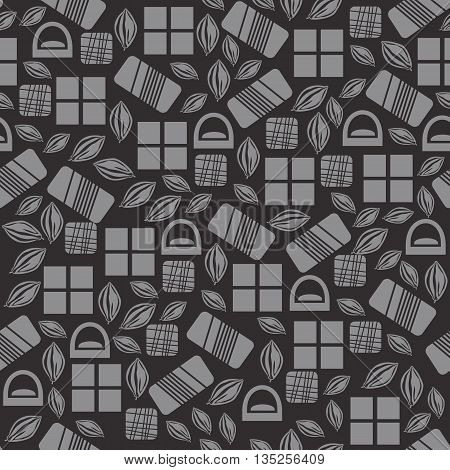 Seamless pattern with chocolate sweets isolated on black background. Assortment of cocao items. Various tasty gourmet products. Can be used for wallpaper and wrapping paper. Mix. Vector