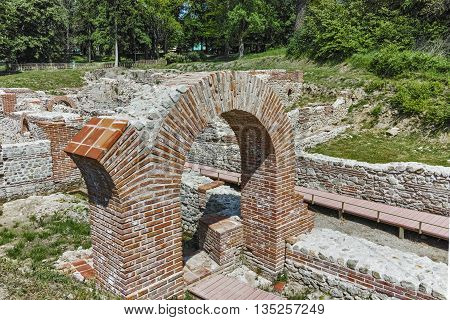 Ruins of Entrance of The ancient Thermal Baths of Diocletianopolis, town of Hisarya, Plovdiv Region, Bulgaria