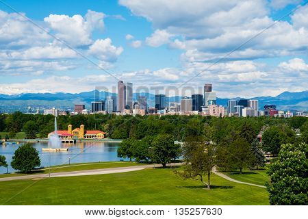 Denver Colorado downtown with City Park