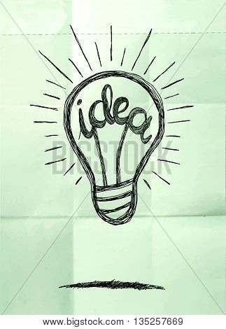 Hand Drawing Light Bulb Idea Vector Illustration