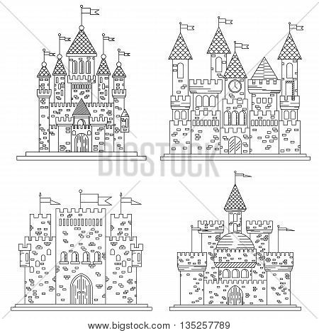 Sketch in thin line for medieval castles and fortress, citadel or chateau, royal or kings mansion or residence, stronghold or keep with flags on towers or turrets made of bricks on roof made of tile.