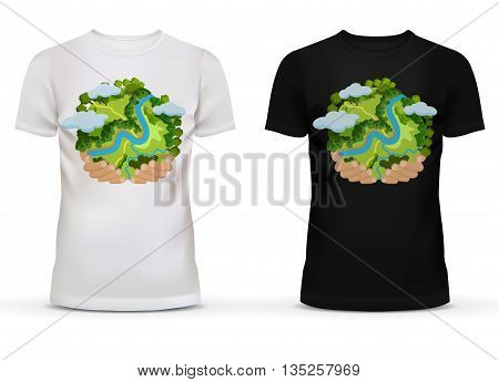Black and white sportswear men t-shirt with short sleeve and u-neck collar for adult and teenager with print or advertisement of hands holding earth globe with river and forest, clouds.