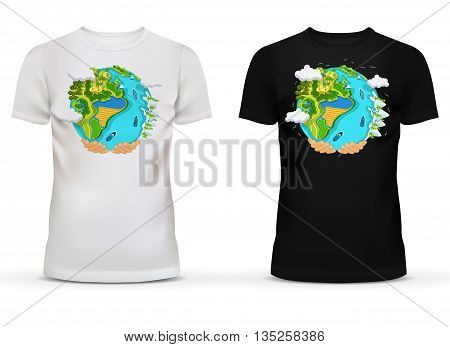 Casualwear men black and white t-shirt with u-neck collar and short sleeve for teenager and adult with illustration or print of hands holding earth with field and forest, river and ocean with ships