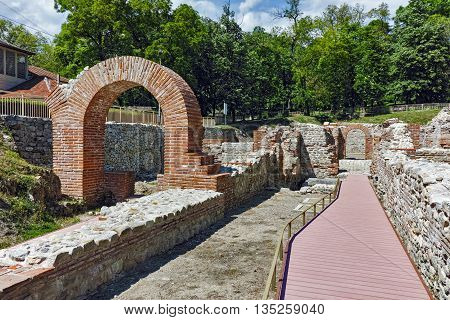 Panorama to The ancient Thermal Baths of Diocletianopolis, town of Hisarya, Plovdiv Region, Bulgaria