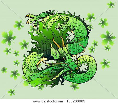 Playful green wood Asian chinese dragon against green leaves