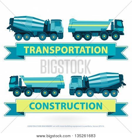 Construction machinery set. Blue ground works with sign. Machine vehicles, truck. Building equipment mix, lorry. Heavy pavement foundation. Master vector illustration. Symbol icon brand.