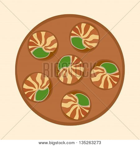 Escargot deliciously cooked land snail. Vector illustration of traditional french cuisine dish. Ideal for restaurant menu for national escargot day celebration decoration