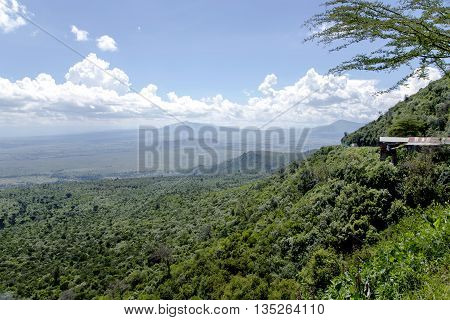 The beautiful landscape of the Great Rift Valley  from the Kamandura Mai-Mahiu Narok Road, Kenya, Africa. Stretching approximately 6,000 kilometers from northern Ethiopia to central Mozambique.