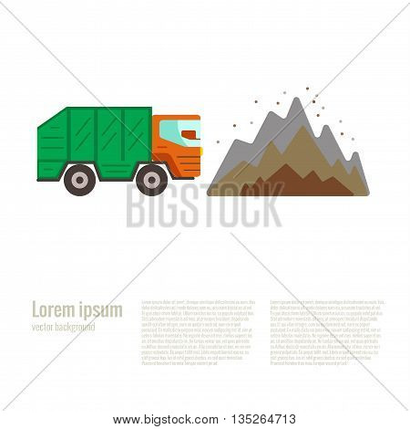 Vector illustration dump in flat style. Garbage and waste dump. Dump colorful vector icon. Garbage truck waste dump poster.