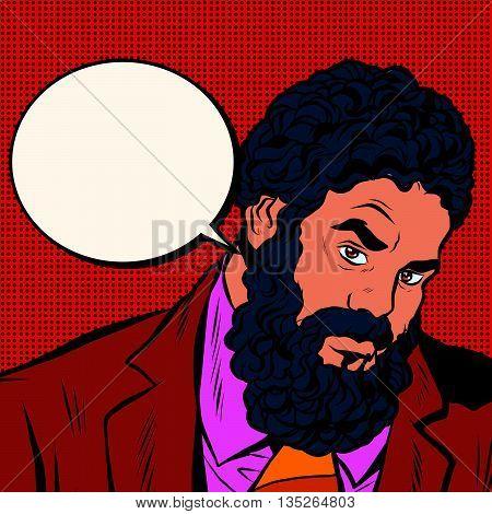 Bearded African American black people pop art retro vector. Portrait of strong man businessman