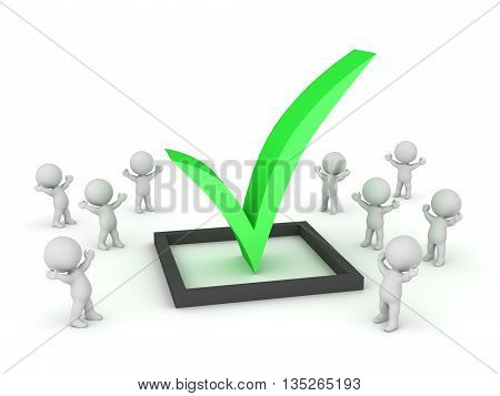 Many small 3D characters cheering around a large check symbol. Isolated on white background.