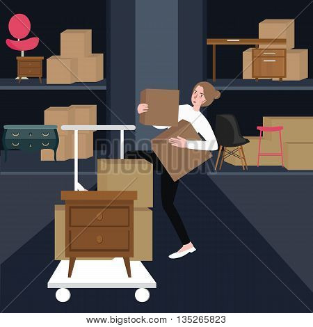 woman girls buying furniture home interior carrying box of cardboard in shop ector