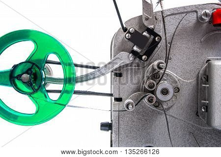 Close Up View Of Retro Motion Picture Film Projector Isolated On A White Background.