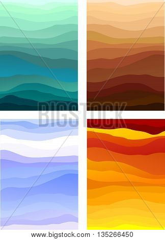 Abstract designs representing the four elements, or the four seasons. Also usable as decorative backgrounds