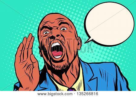 Emotional strong black man calling, an African American businessman pop art retro vector