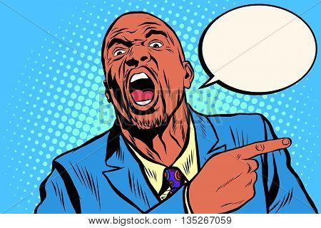 Emotional strong black man pointing finger, an African American businessman pop art retro vector