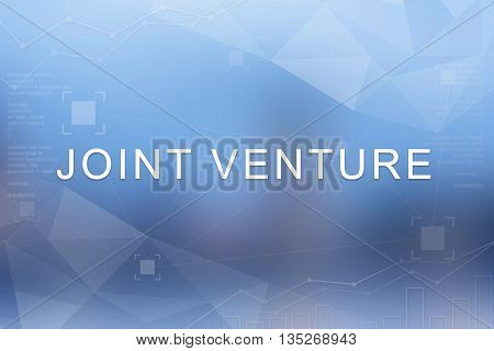 joint venture word on blue blurred and polygon background