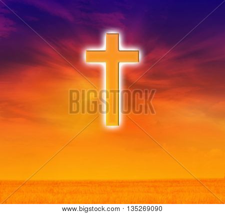 Light expel darkness concept background Light from sky or heaven shine through crucifix or cross on dreamy sky god believe and hope crucifix background