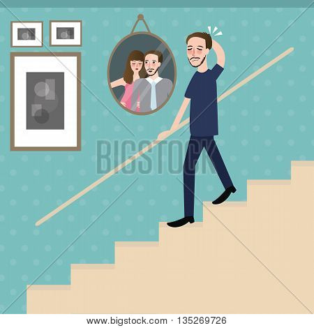 man walking on stairs feel sad lonely looking at photo of couple remember their memory vector